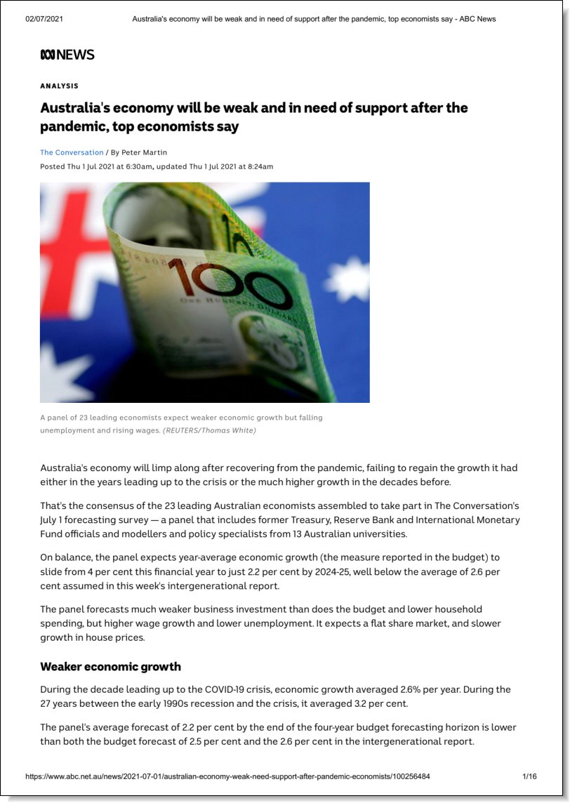 Australia's economy will be weak and in need of support after the pandemic, top economists say, ABC News, 1 July 2021