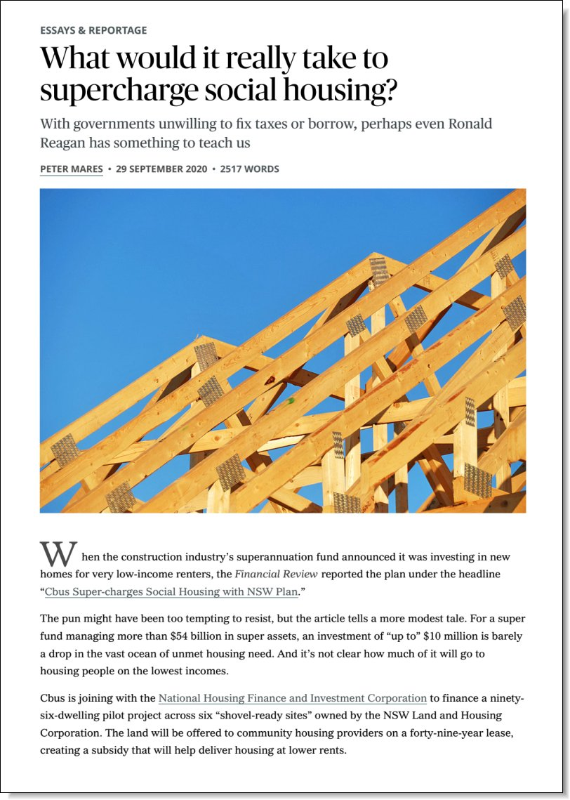 What would it really take to supercharge social housing? Stephen Anthony in Inside Story, 29 September 2020