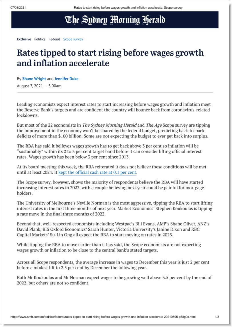 Rates tipped to start rising before wages growth and inflation accelerate, Stephen Anthony in the Sydney Morning Herald, 7 August 2021