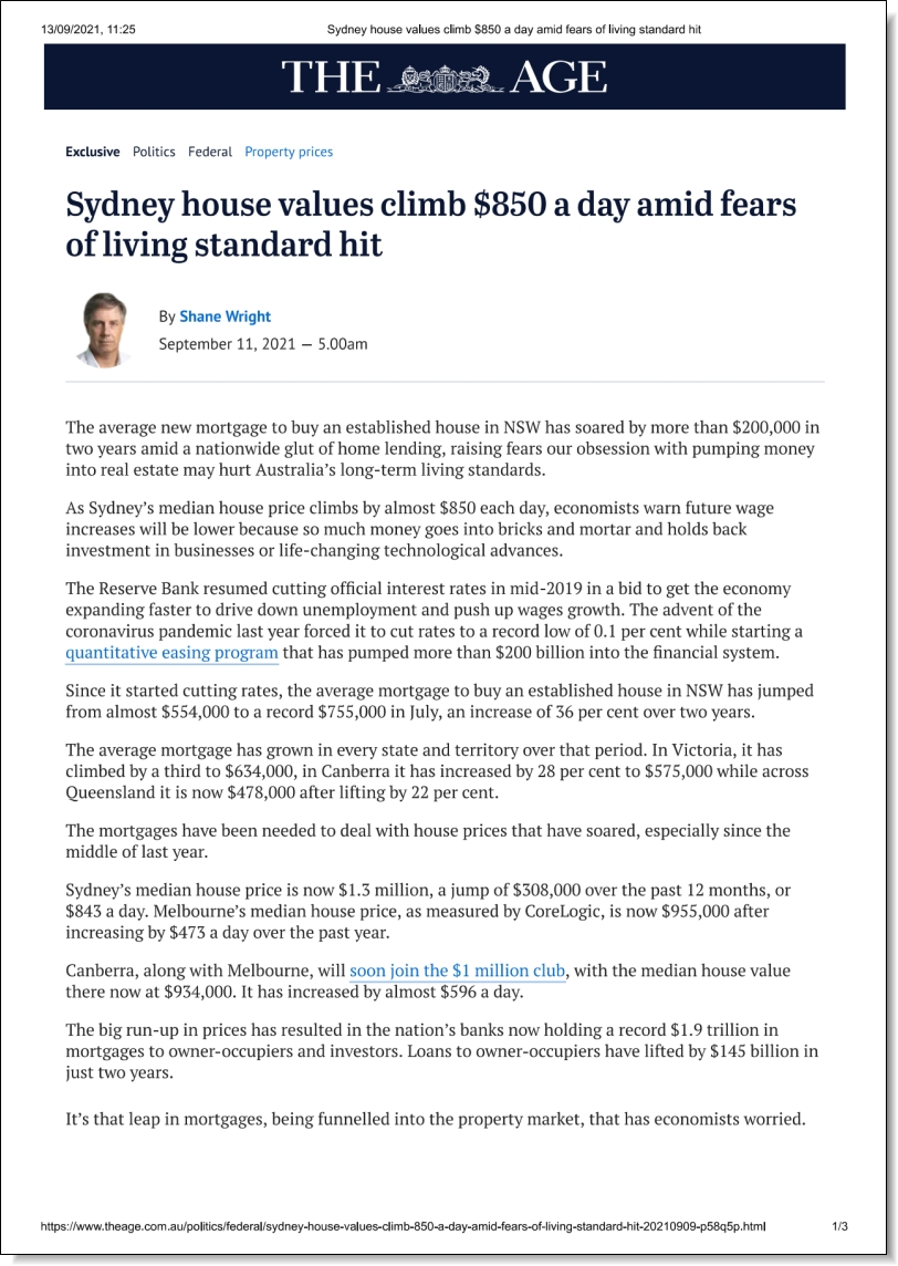 Sydney house values climb $850 a day amid fears of living standard hit, Stephen Anthony in The Age, 11 September 2021
